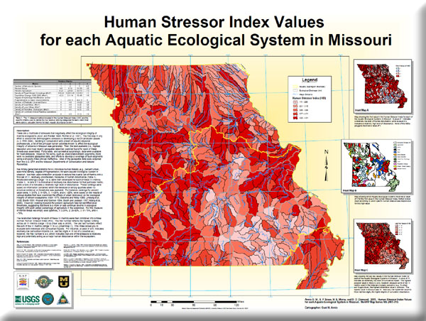 Poster: Human Stressor Index Values for each Aquatic Ecological System in Missouri